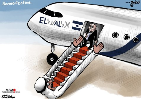 Israelis will be able to visit Gulf States - Cartoon [Sabaaneh/MiddleEastMonitor]