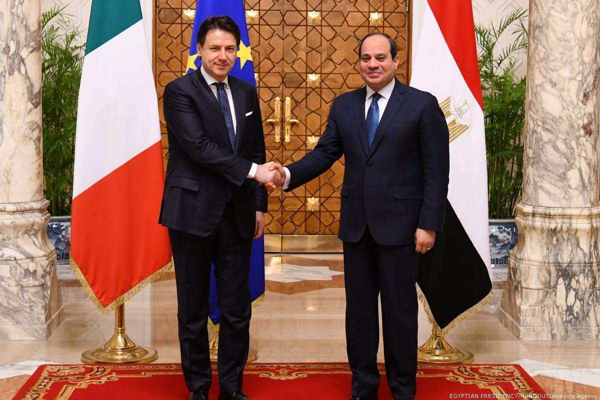 Italian Prime Minister Giuseppe Conte (L) meets Egyptian President Abdel Fattah al-Sisi (R) at Al Ittihadiyah Palace in Cairo, Egypt on January 14, 2020. [EGYPTIAN PRESIDENCY/HANDOUT/Anadolu Agency]