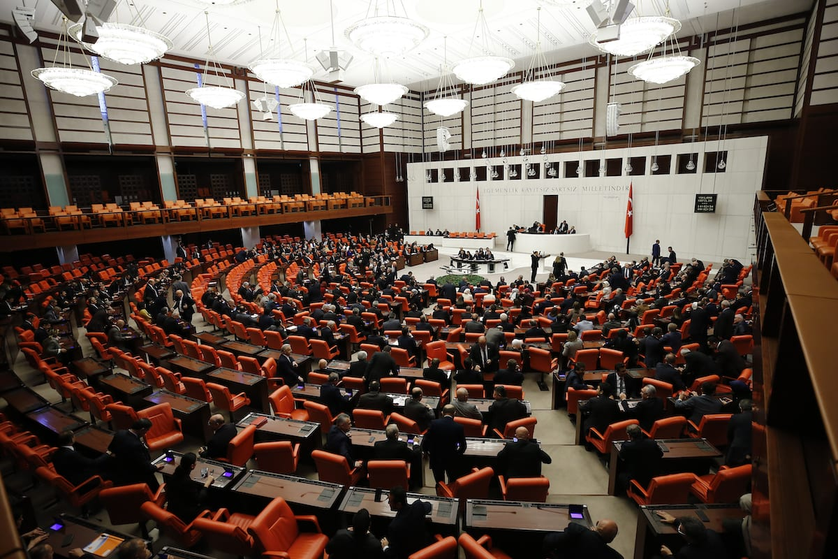 Turkish Parliament Speaker Mustafa Sentop chairs the Turkish Parliament Session to debate motion authorizing government to deploy Turkish troops in Libya, at the Grand National Assembly of Turkey (TBMM) in Ankara, Turkey on 2 January 2020. [Doğukan Keskinkılıç - Anadolu Agency]