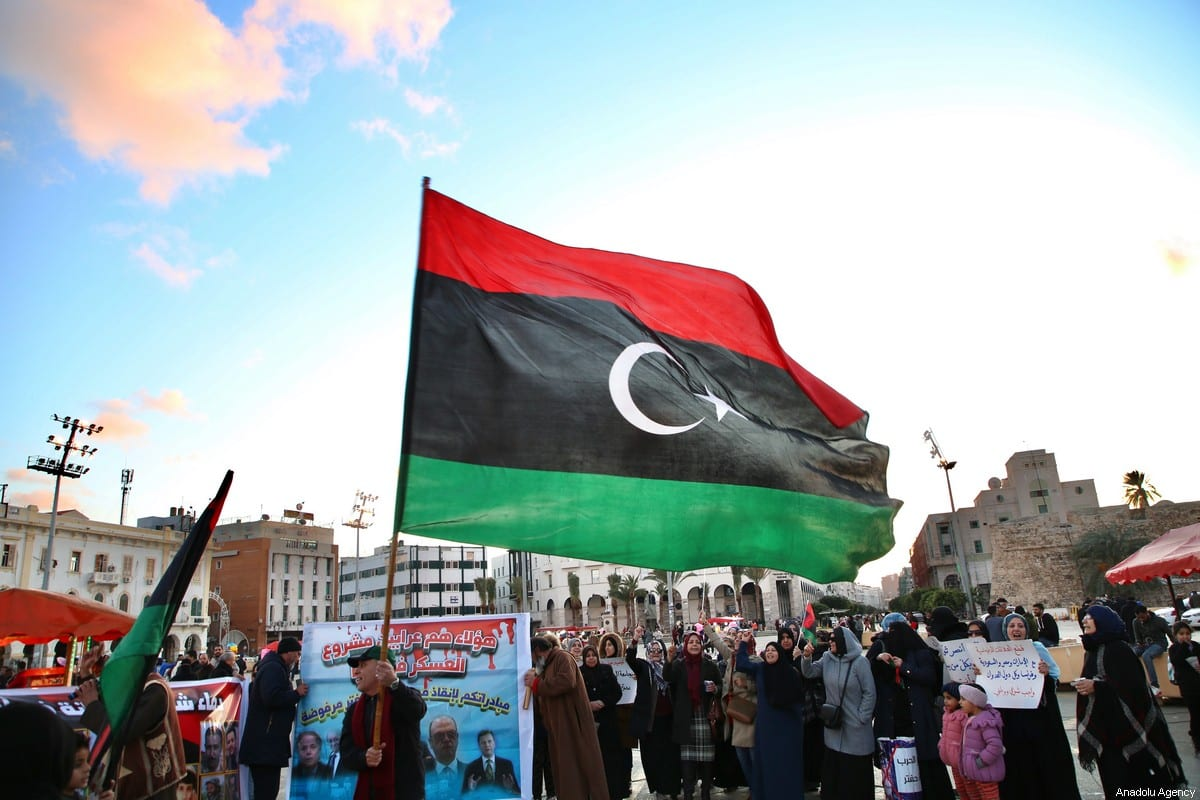 People gather to protest against eastern military commander Khalifa Haftar who is based in the east of the country, and in support of the motion authorising the Turkish government to send troops to Libya, in Tripoli, Libya on January 03, 2020 [Hazem Turkia / Anadolu Agency]