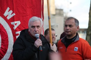Shadow Chancellor of the Exchequer, John McDonnell speaks during an anti-war rally following the killing of Iranian Revolutionary Guards' Quds Force commander Qasem Soleimani by a US airstrike in the Iraqi capital Baghdad, on January 04, 2020 at Downing Street in London, United Kingdom [İlyas Tayfun Salcı / Anadolu Agency]