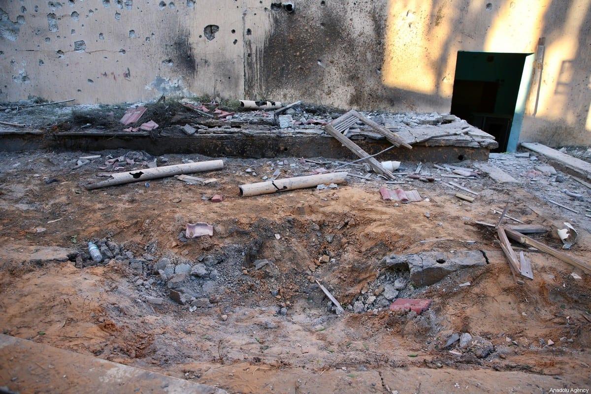 A house building of a resident Dr. Cuma Bilosman'ın (70) is seen after it was damaged by Haftar forces' strike on Mitiga Airport in Tripoli, Libya on January 04, 2020 [Hazem Turkia - Anadolu Agency]
