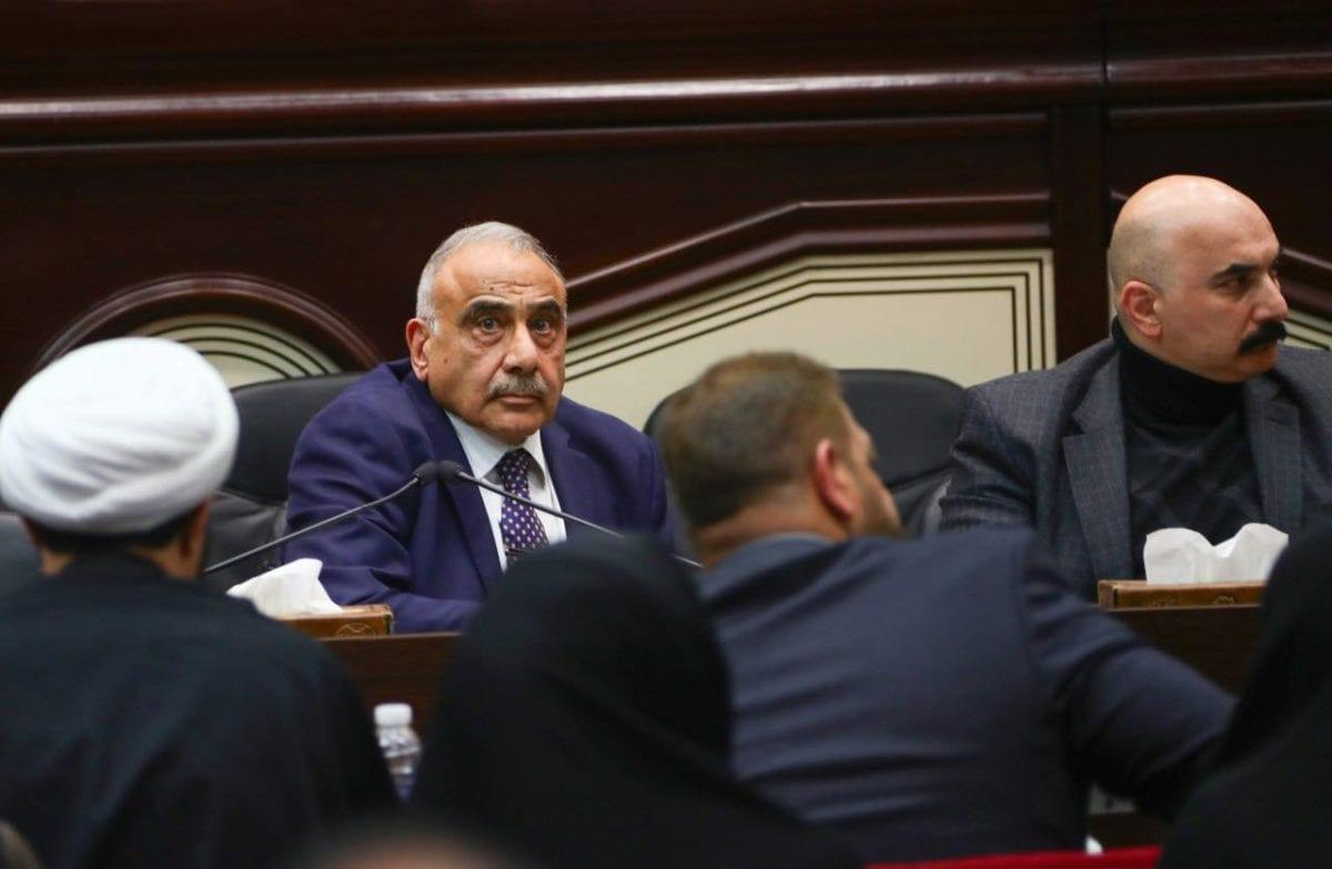 Iraqi Prime Minister Adel Abdul-Mahdi (L) attends an Iraqi parliament session in Baghdad, Iraq, on 05 January 2020. [Iraqi prime minister office /Handout - Anadolu Agency]