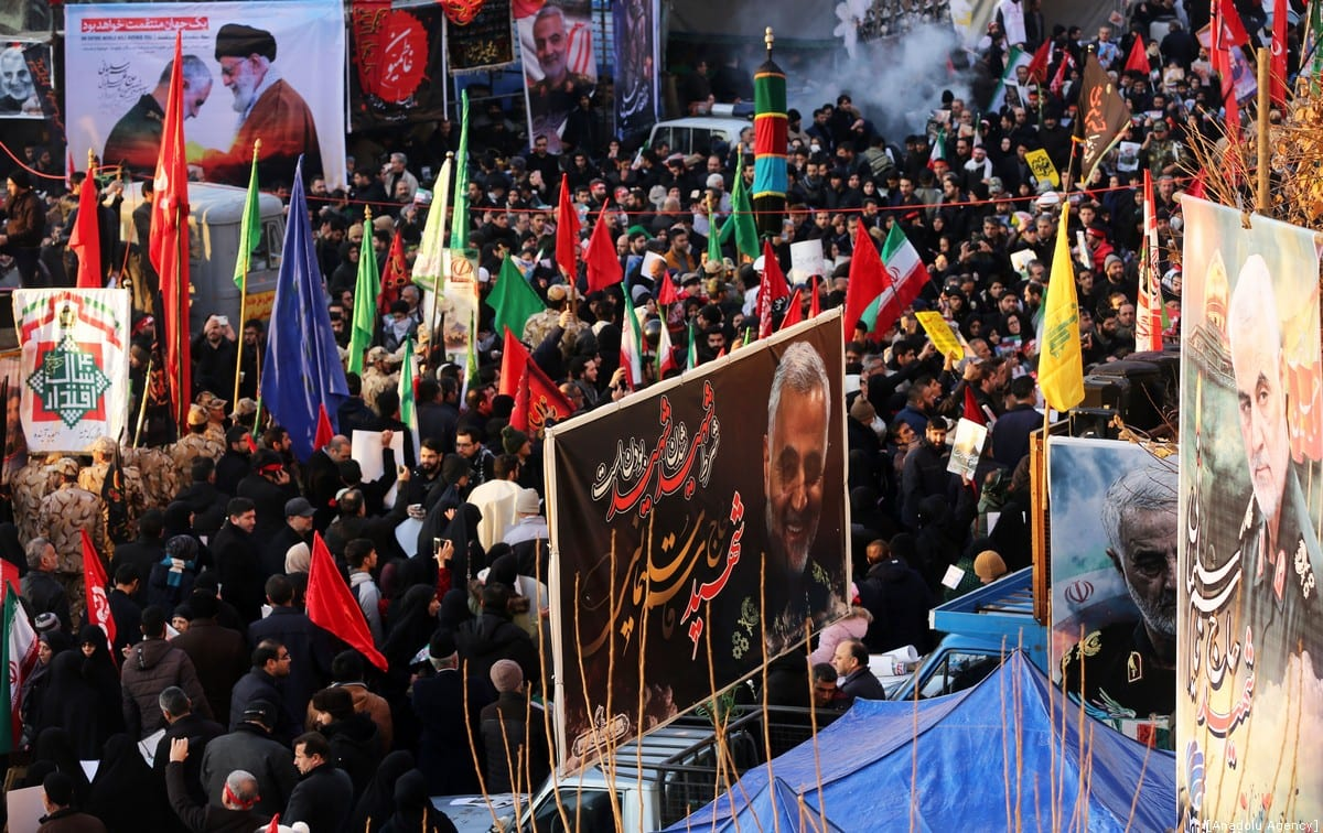 Thousands of people attend the funeral ceremony of Qasem Soleimani, commander of Iranian Revolutionary Guards' Quds Forces, who was killed in a US drone airstrike in Iraq, in Tehran, Iran on 6 January 2019. [Fatemeh Bahrami - Anadolu Agency]