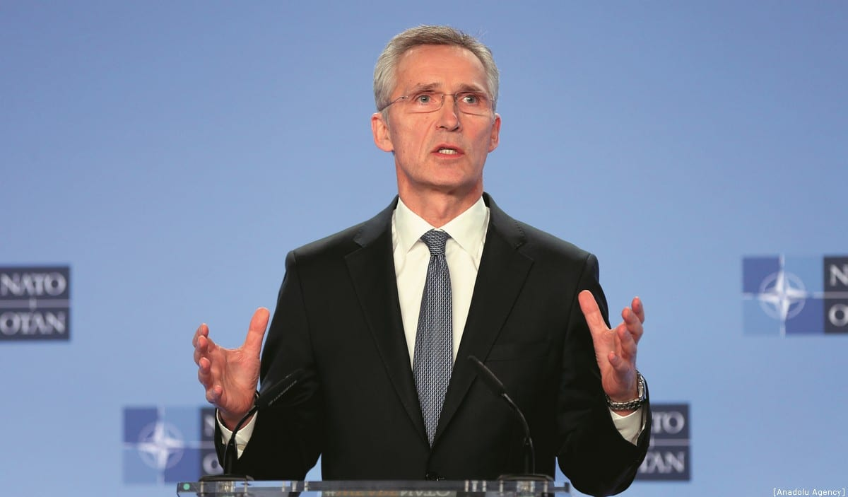 NATO Secretary General Jens Stoltenberg gives a press conference following the NATO ambassadors' meeting on the situation in the Middle East after the killing of Iranian top commander Qasem Soleimani in the US airstrike at NATO headquarter​ in Brussels, Belgium on 6 January 2020. [Dursun Aydemir - Anadolu Agency]