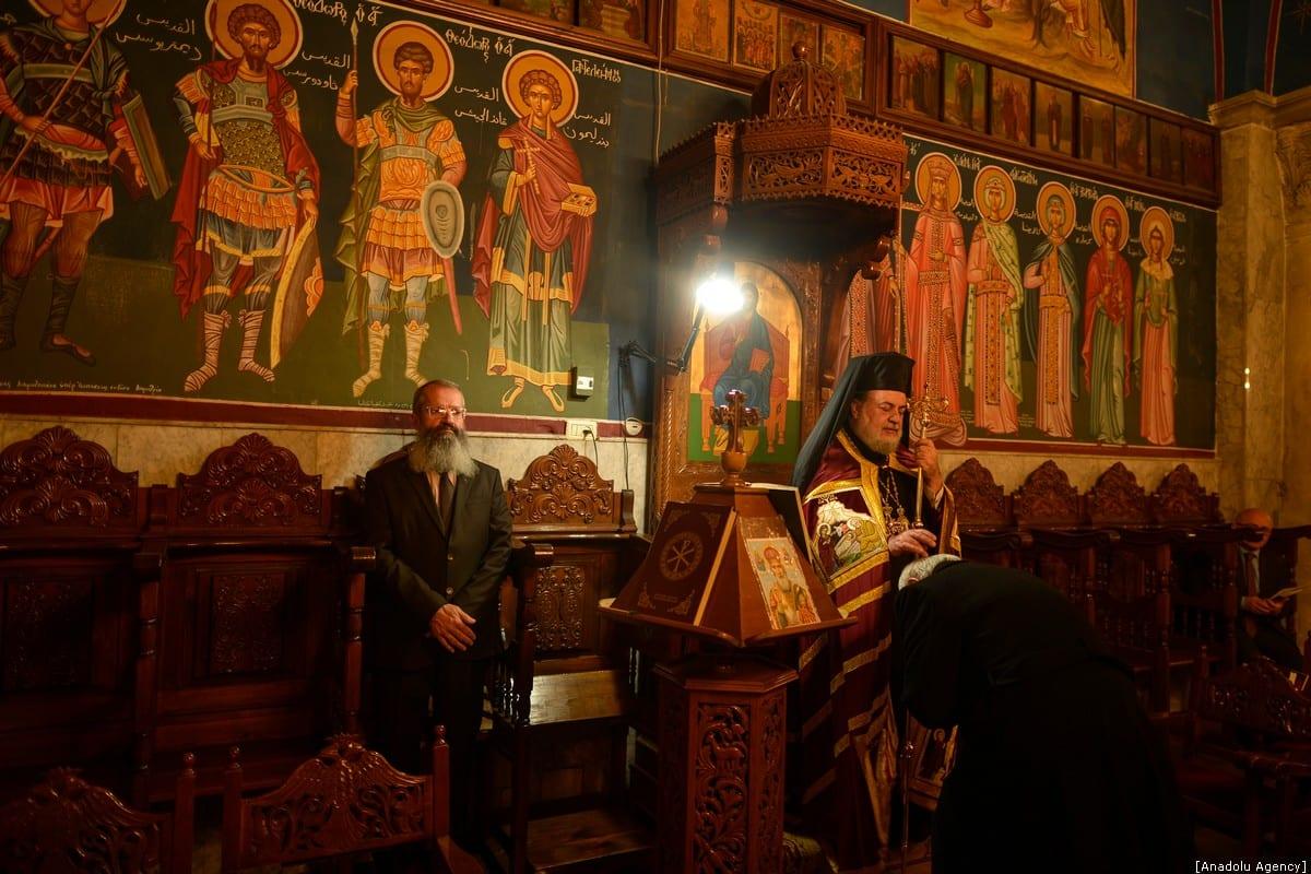 Orthodox Christmas service, officiated by Archbishop Alexios in Gaza City, Gaza on 7 January 2020 [Mustafa Hassona/Anadolu Agency]