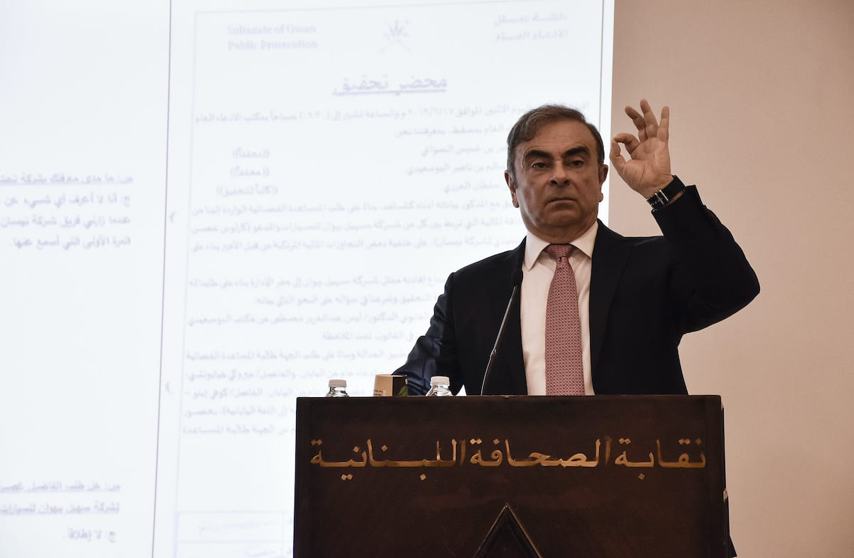 Former chairman of Nissan, Carlos Ghosn speaks during a press conference in Beirut, Lebanon on 8 January, 2020 [Mahmut Geldi/Anadolu Agency]