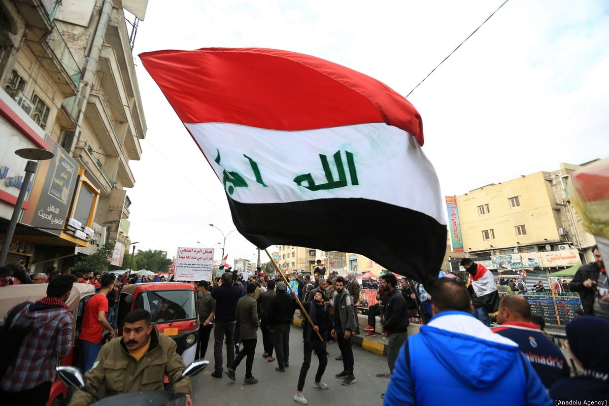 Iraqis continue to take part in anti-government protests at Tahrir Square in Baghdad, Iraq on January 10, 2020 [Murtadha Sudani/Anadolu Agency]