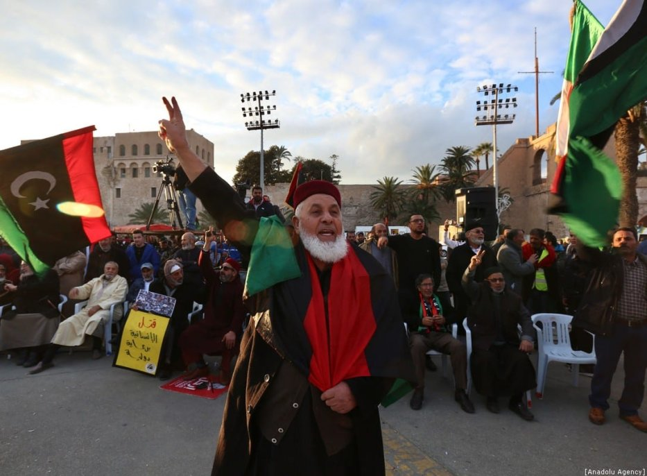 People take part in a demonstration against eastern military commander Khalifa Haftar, who is based in the east of the country, and in support of the UN-recognised government of national accord (GNA) at Martyrs' Square in Tripoli on 10 January 2020. [Hazem Turkia - Anadolu Agency]