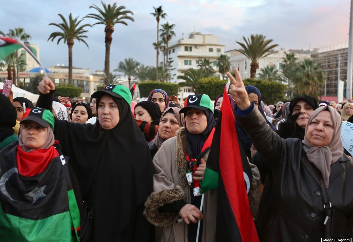 Women take part in a demonstration against eastern military commander Khalifa Haftar, at Martyrs' Square in Tripoli on 10 January 2020. [Hazem Turkia - Anadolu Agency]