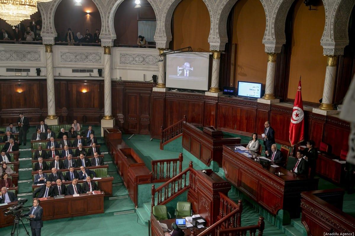 Tunisian parliament speaker Rachid al-Ghannouchi announces that the government Tunisian Prime Minister-designate Habib Jemli fell after a no-confidence vote in parliament in Tunis, Tunisia on 11 January 2020. [Yassine Gaidi - Anadolu Agency]