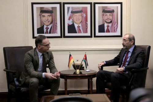 Jordanian Foreign Minister Ayman Safadi (R) meets his German counterpart Heiko Maas in Amman, Jordan on 13 January 2020. [Foreign Ministry of Jordan / Handout - Anadolu Agency]