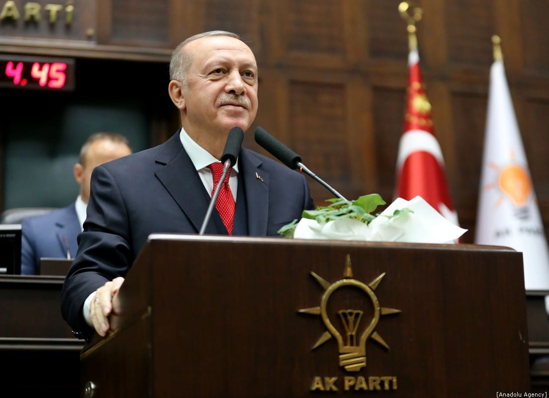 Turkish President and leader of Justice and Development (AK) Party Recep Tayyip Erdogan makes a speech during the party's group meeting at Turkish Grand National Assembly in Ankara, Turkey on 14 January 2020. [Arda Küçükkaya - Anadolu Agency]