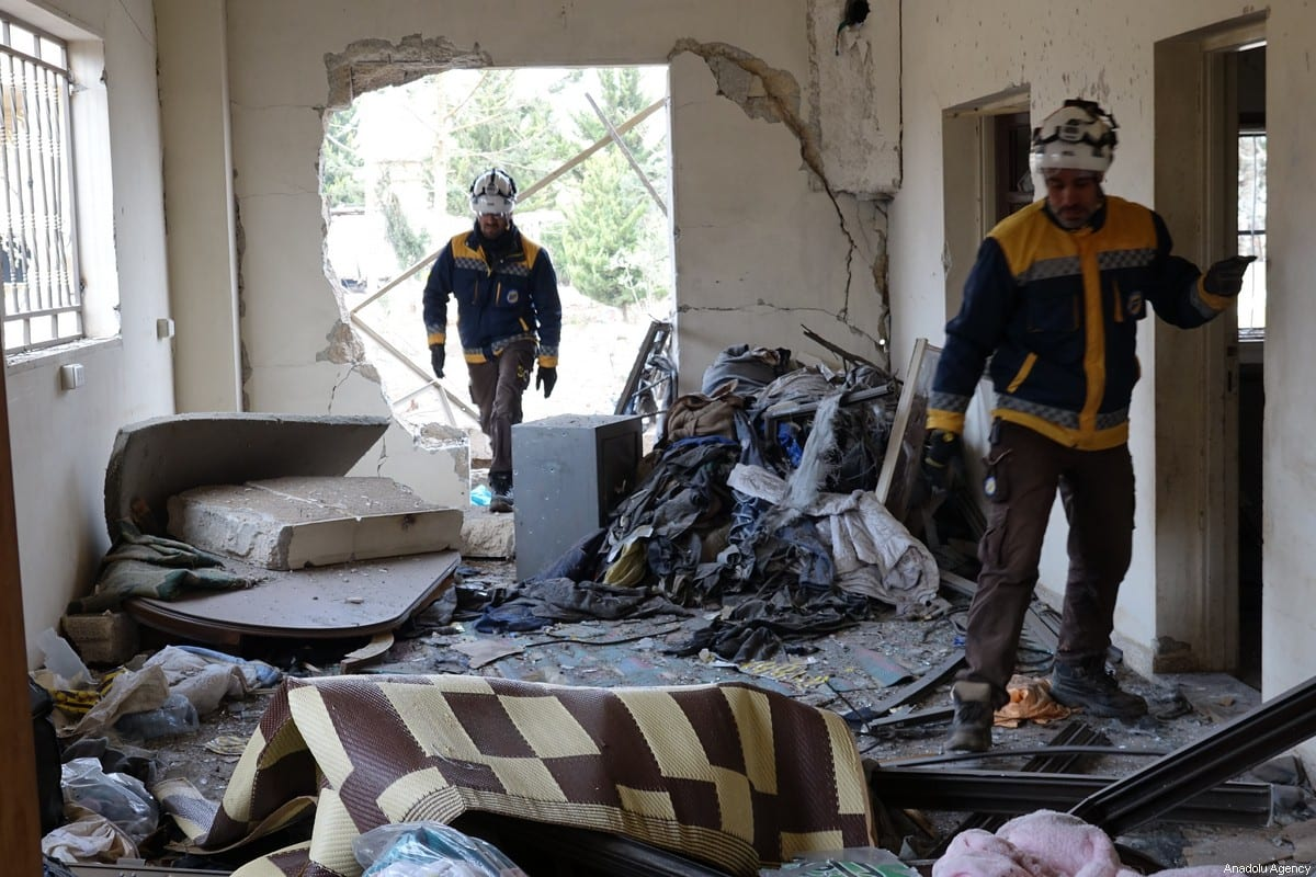 """An inside view of a farmhouse, damaged after airstrikes of Russian warplanes hit western rural residential areas, located within """"Idlib de-escalation zone"""" in Aleppo, Syria on 18 January 2020. [Ibrahim Dervis - Anadolu Agency]"""