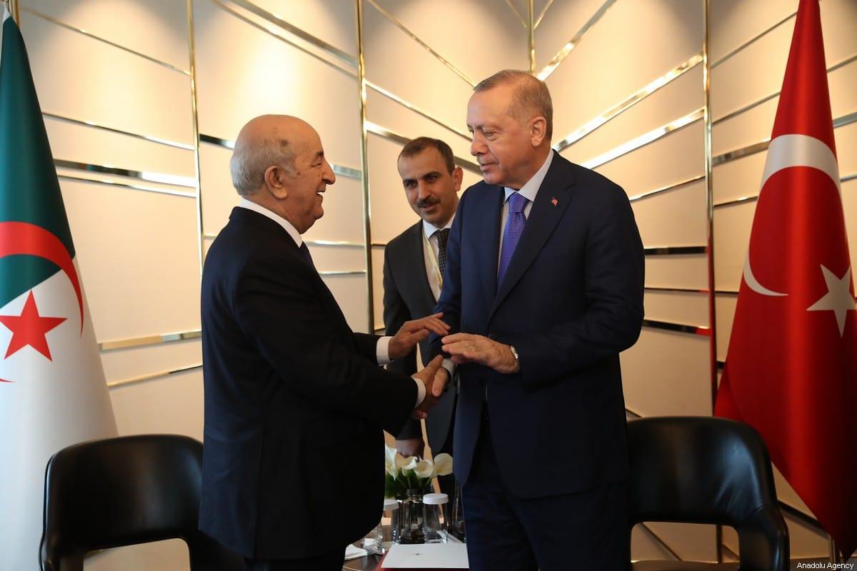 Turkish President Recep Tayyip Erdogan (R) meets with Algerian President Abdelmadjid Tebboune (L) within the Berlin Conference on Libyan peace in Berlin, Germany on 19 January 2020. [Turkish Presidency / Murat Cetinmuhurdar / Handout - Anadolu Agency]