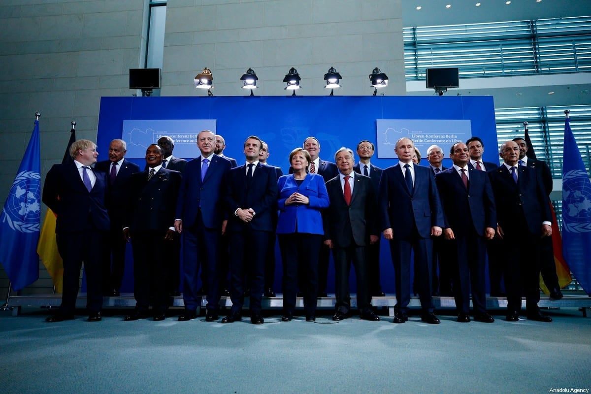 President of Turkey Recep Tayyip Erdogan, President of France Emmanuel Macron, President of Russia Vladimir Putin, Prime Minister of Italy Giuseppe Conte, British Prime Minister Boris Johnson, European Union Council President, Charles Michel , European Commission President, Ursula von der Leyen, President of Egypt Abdel Fattah el-Sisi and German Chancellor Angela Merkel pose for a family photo within the Berlin Conference on Libyan peace in Berlin, Germany on January 19, 2020 [Abdulhamid Hosbas / Anadolu Agency]