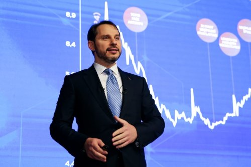 Turkish Treasury and Finance Minister Berat Albayrak makes a speech during an annual evaluation meeting on 2019 at the Dolmabahce Presidential Work Office in Istanbul, Turkey on January 20, 2020 [Ahmet Bolat / Anadolu Agency]