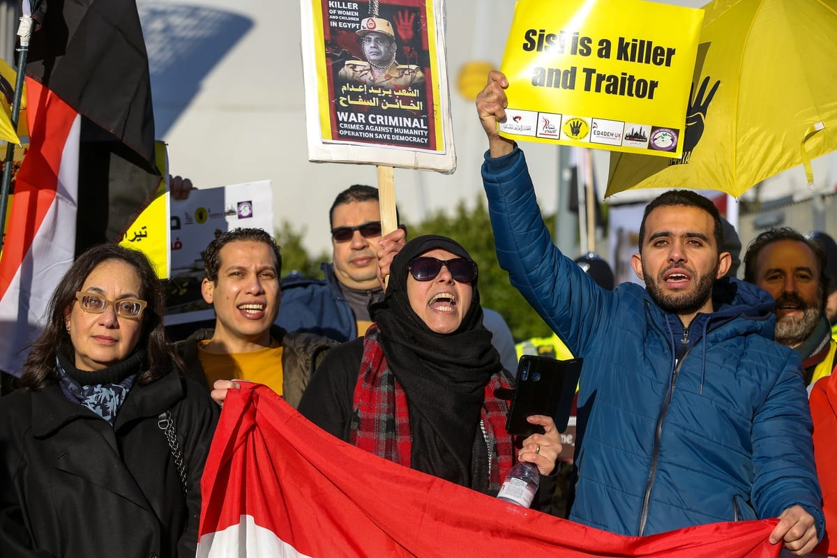 Protesters from the Egyptian Revolutionary Council and UK anti-Coup organisations demonstrate outside InterContinental Hotel against President of Egypt, Abdel Fattah el-Sisi who is attending UK Africa Investment Summit in London, United Kingdom on 20 January 2020. [Dinendra Haria - Anadolu Agency]
