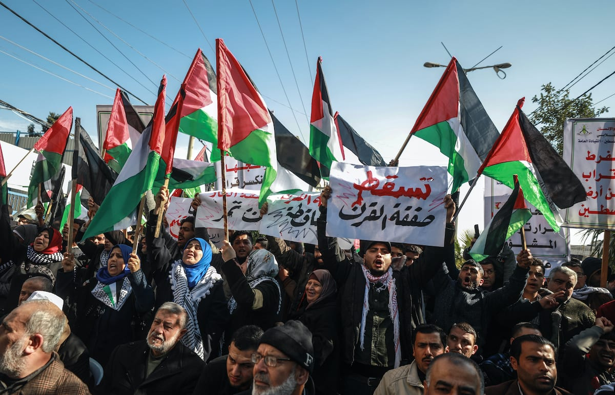Palestinians stage a protest against Deal of Century in Gaza City, Gaza on 28 January 2020. [Ali Jadallah - Anadolu Agency]