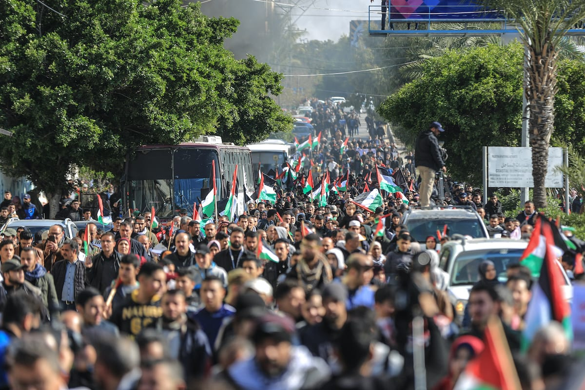Palestinians stage a protest against Deal of Century in Gaza City, Gaza on 28 January 2020 [Ali Jadallah/Anadolu Agency]