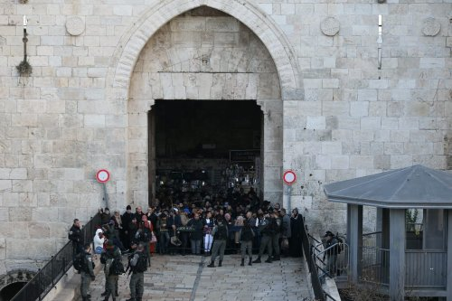 Israeli security forces seen blocking the Damascus gate as tension rises between Israeli forces and Palestinians outside of Al-Aqsa Mosque Compound in Eastern Jerusalem on 29 January 2020 [Mostafa Alkharouf - Anadolu Agency]