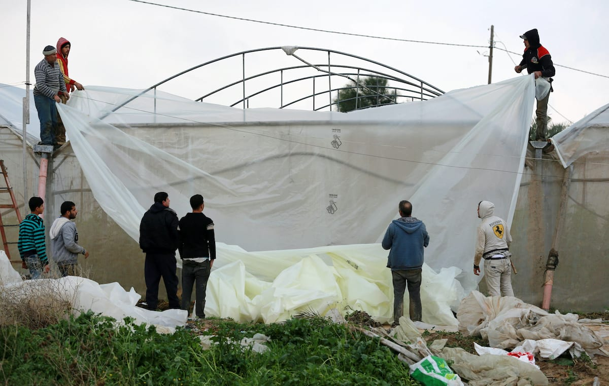 Palestinians repair greenhouses following heavy rainfall in Rafah in the southern Gaza Strip on 27 January 2016. [Yasser Qudih - Apaimages]