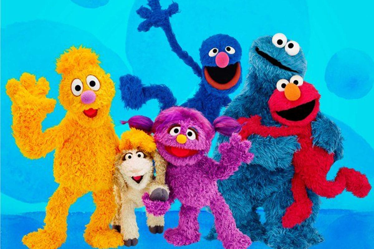 "Sesame Workshop's new show ""Ahlan Simsim"" will feature, from left, Jad, Ma'zooza, Basma, Grover, Cookie Monster and Elmo for the Arabic TV program that will focus on helping Syrian refugees [Twitter]"
