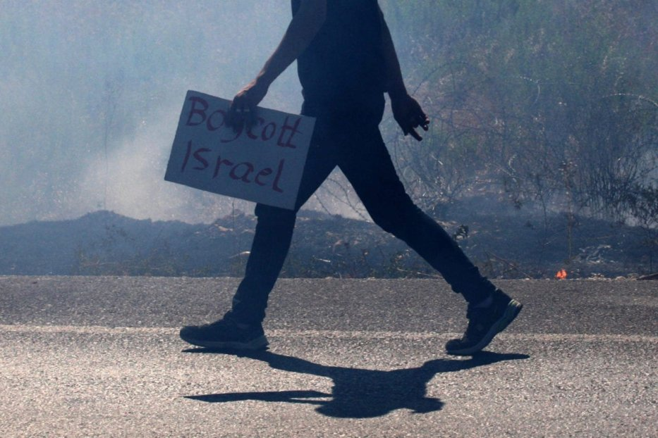 "A Palestinian protester hold a placard reads ""Boycott Israel"" during a demonstration against the Israeli military action in Gaza, near the West Bank town of Nablus, on 16 July 2014. [Nedal Eshtayah