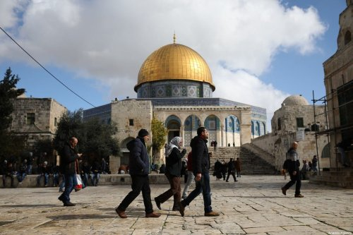 Muslims at the Al-Aqsa Mosque Compound in Jerusalem on 21 February 2020 [Mostafa Alkharouf/Anadolu Agency]