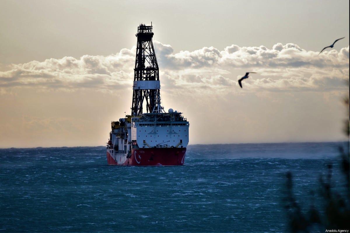 Turkey's drilling ship Fatih is anchored off the Tasucu Port in Silifke district of Mersin, Turkey on February 1, 2020. [Mustafa Ünal Uysal - Anadolu Agency]