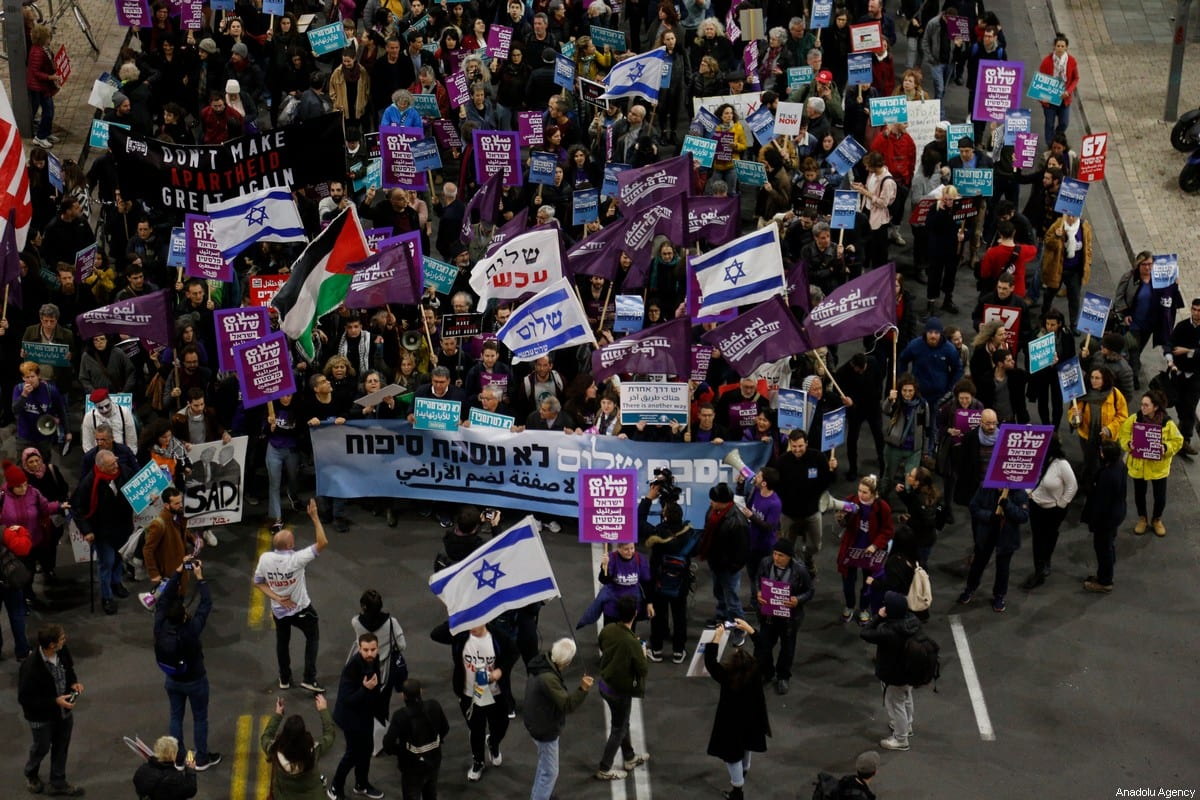 Demonstrators stage a protest against US President Donald Trump's Middle East plan on 1 February 2020 in Tel Aviv, Israel. [Mostafa Alkharouf - Anadolu Agency]
