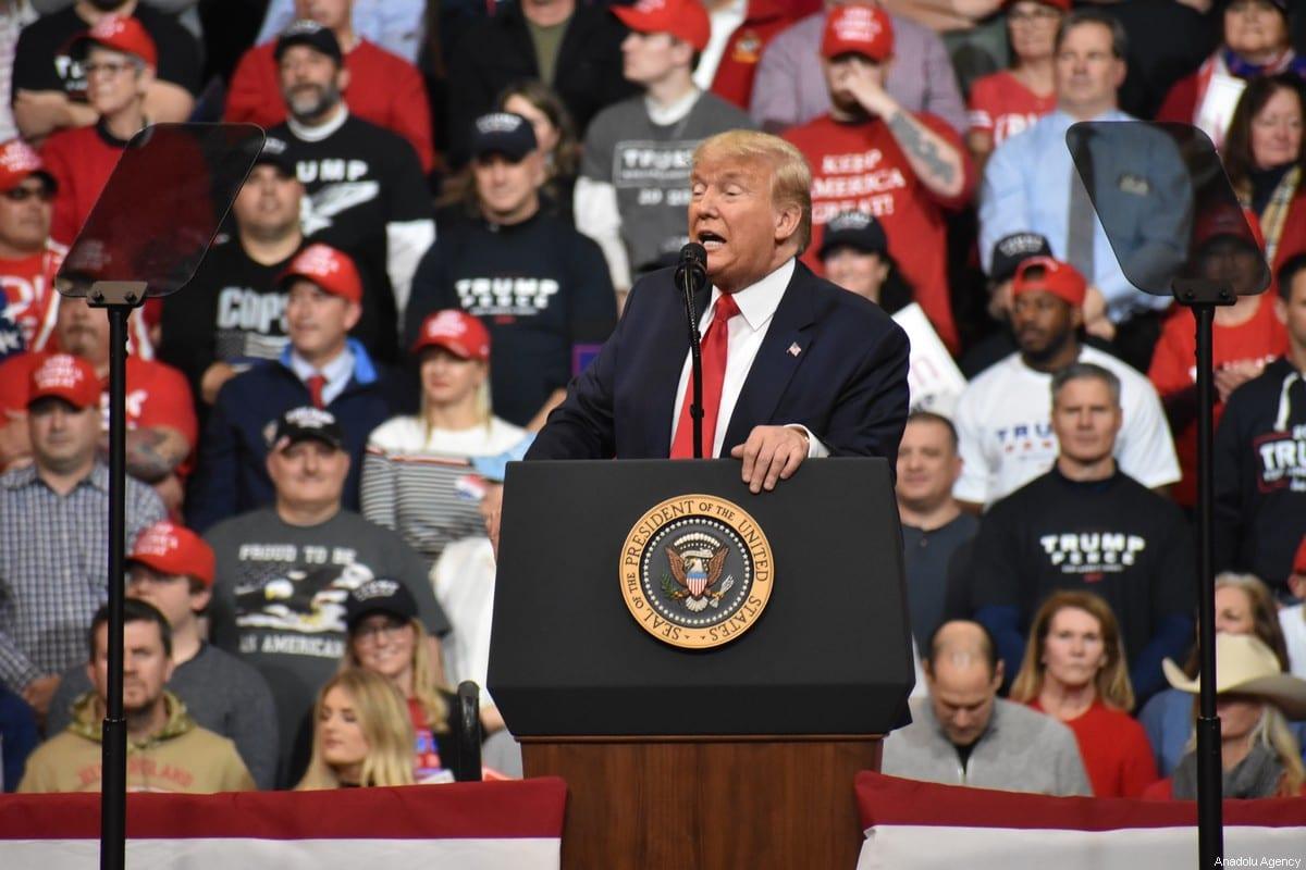 US President Donald Trump in New Hampshire, US on 10 February 2020 [Kyle Mazza/Anadolu Agency]