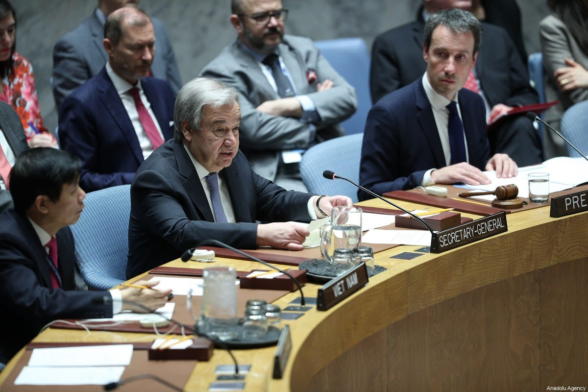 Secretary-General of the United Nations Antonio Guterres (C) is seen during the UN Security Council meeting about the situation in the Middle East, including the Palestinian at United Nations headquarters in New York, United States on 11 February 2020. [Tayfun Coşkun - Anadolu Agency]