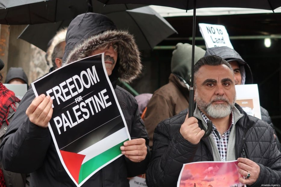 A group of protesters gather in front of United Nations headquarters to protest against U.S. President Donald Trump's Middle East plan as Palestinian President, Mahmoud Abbas speaks at the UN Security Council meeting in New York, United States on 11 February 2020. [Islam Doğru - Anadolu Agency]
