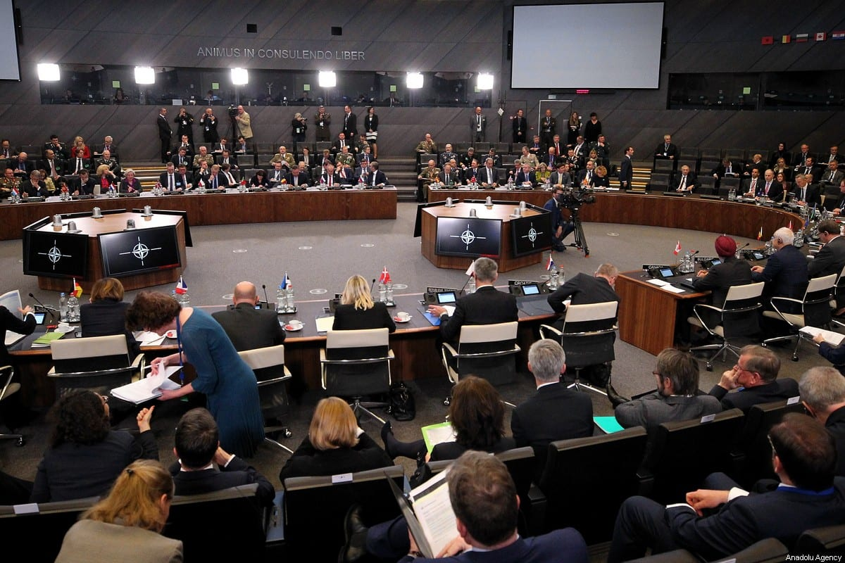 General view on the second day of NATO Defense Ministers' Meeting at the NATO Headquarters in Brussels, Belgium on February 13, 2020 [Dursun Aydemir / Anadolu Agency]