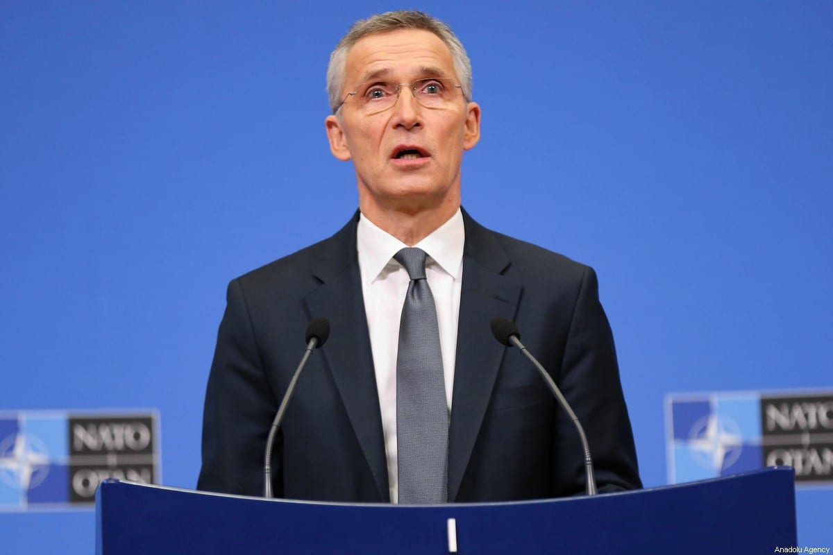 Secretary-General Jens Stoltenberg speaks during a presss conference on the second day of NATO Defense Ministers' Meeting at the NATO Headquarters in Brussels, Belgium on February 13, 2020. [Dursun Aydemir - Anadolu Agency]