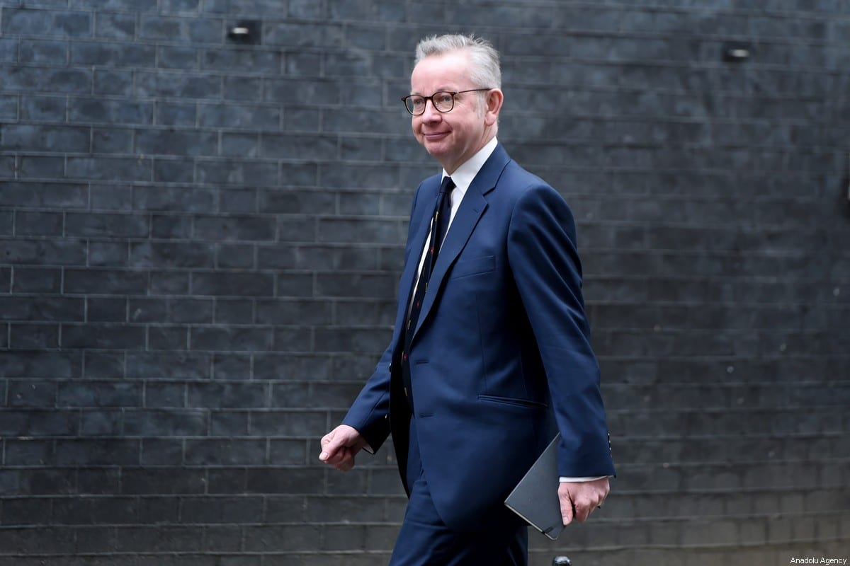 Chancellor of the Duchy of Lancaster Michael Gove arrives at 10 Downing Street on 13 February 2020 in London, UK [Kate Green/Anadolu Agency]