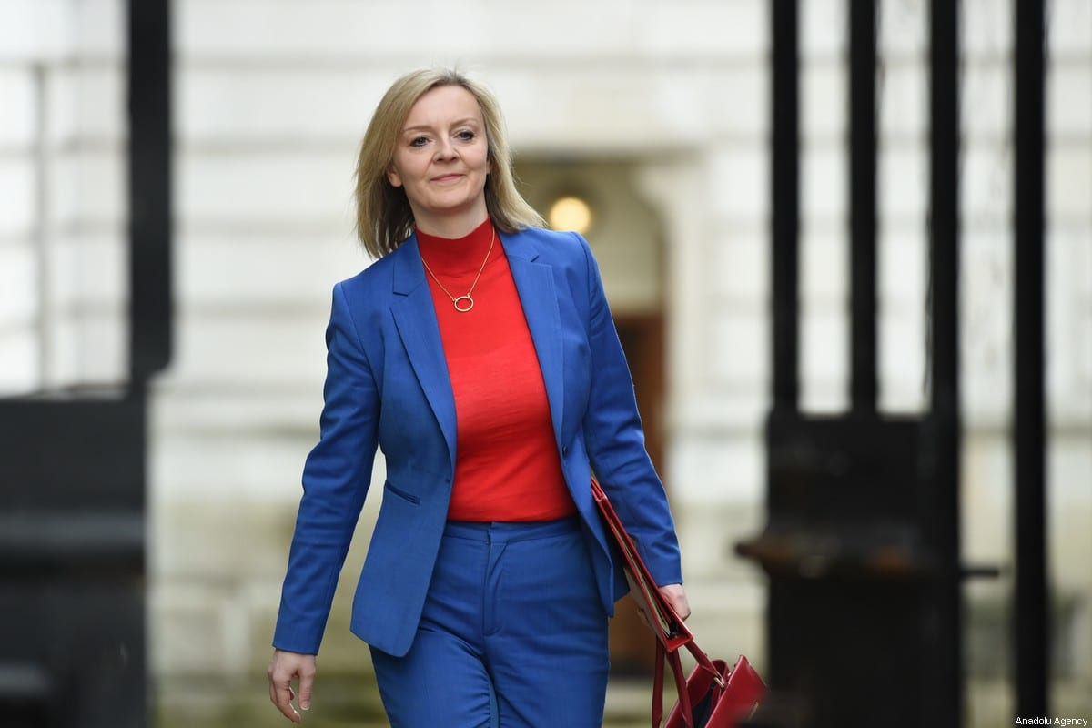 International Trade Secretary Liz Truss arrives for the first meeting of the cabinet the day after a reshuffle at 10 Downing Street in London on 14 February 2020. [Kate Green - Anadolu Agency]