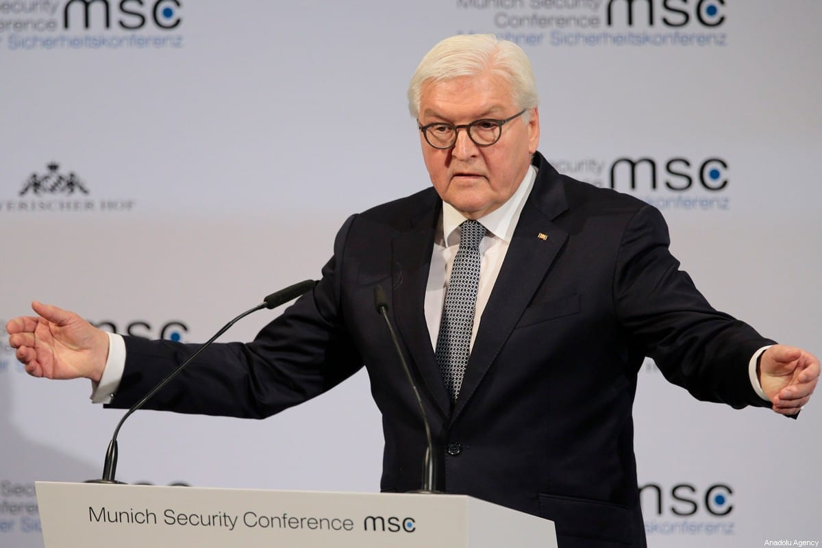 German President Frank-Walter Steinmeier in Munich, Germany on February 14, 2020 [Abdulhamid Hoşbaş/ Anadolu Agency]