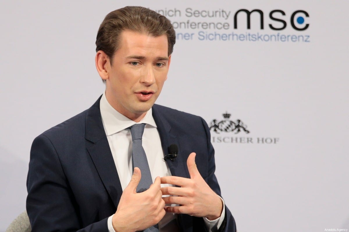 Austrian Prime Minister Sebastian Kurz in Munich, Germany on 14 February 2020. [Abdulhamid Hoşbaş - Anadolu Agency]