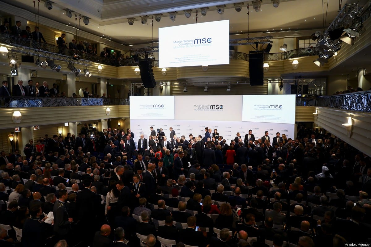 A general view of the 56th Munich Security Conference at Bayerischer Hof Hotel in Munich, Germany on February 14, 2020 [Abdulhamid Hoşbaş / Anadolu Agency]