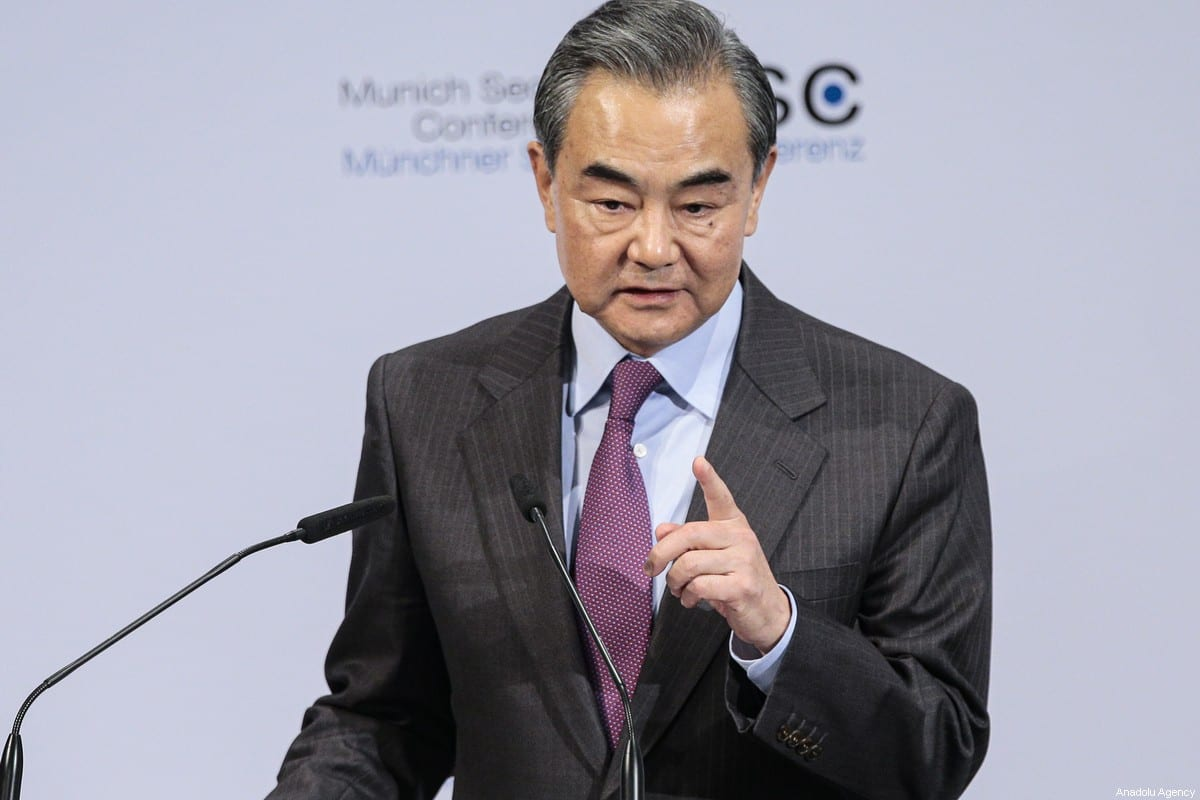 Chinese Foreign Minister Wang Yi makes a speech during the 56th Munich Security Conference at Bayerischer Hof Hotel in Munich, Germany on 15 February 2020. [Abdulhamid Hoşbaş - Anadolu Agency]