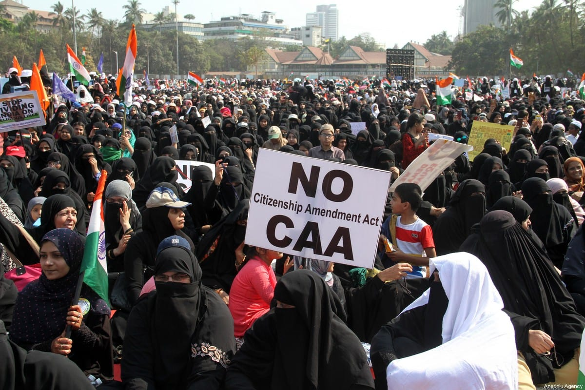 Indian Muslims participate in a protest against the Indian government's Citizenship Amendment Act (CAA), the National Register of Citizens (NRC) and the National Population Register (NRP), in Mumbai, India on February 15, 2020 [Imtiyaz Shaikh/Anadolu Agency]