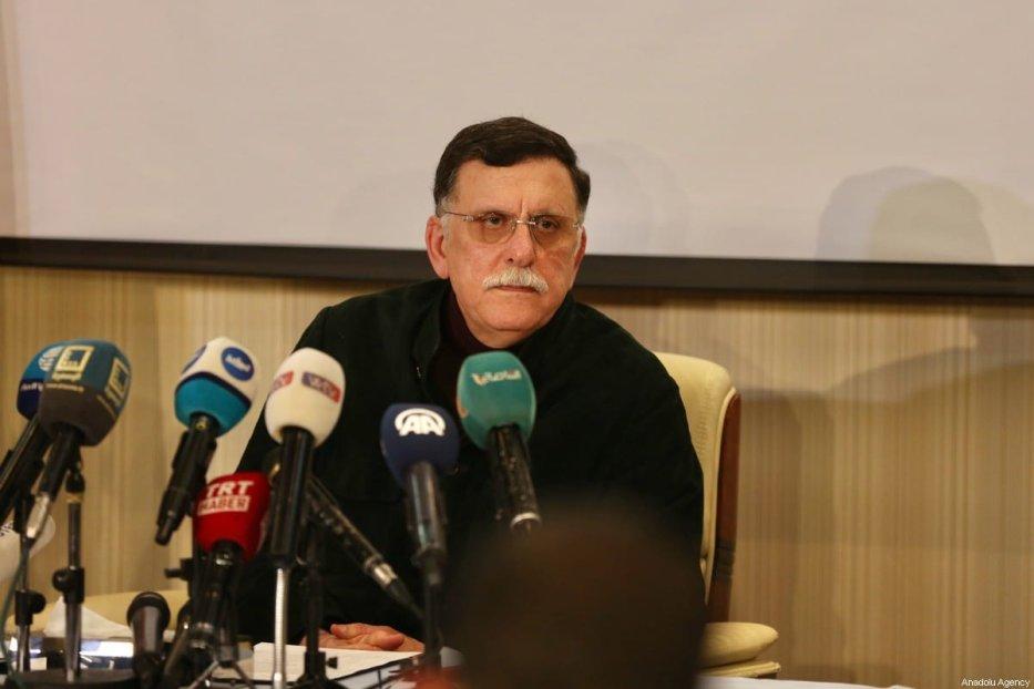 Fayez al-Sarraj, Chairman of the Presidential Council of Libya's Government of National Accord (GNA) holds a press conference in Tripoli, Libya on 15 February 2020. [Hazem Turkia - Anadolu Agency]