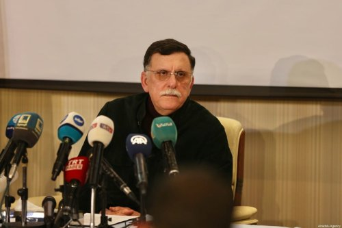 Fayez al-Sarraj, Chairman of the Presidential Council of Libya's Government of National Accord (GNA) holds a press conference in Tripoli, Libya on 15 February 2020. [Hazem Turkia - Anadolu Agency]