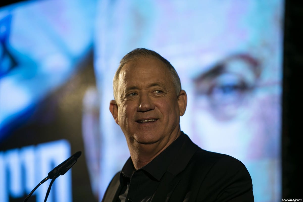 Blue and White alliance leader and former Israeli chief of staff, Benny Gantz delivers a speech during a meeting ahead of the general elections which will be held on 2 March in Rehovot, Israel on 18 February 2020. [Mostafa Alkharouf - Anadolu Agency]
