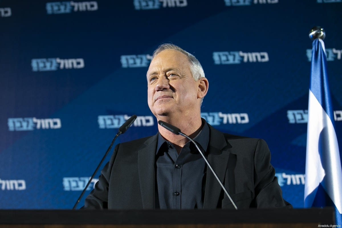 Blue and White alliance leader and former Israeli chief of staff, Benny Gantz delivers a speech during a meeting ahead of the general elections which will be held on March 2, in Rehovot, Israel on February 18, 2020 [Mostafa Alkharouf / Anadolu Agency]