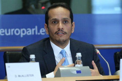 Minister of Foreign Affairs of Qatar Mohammed bin Abdulrahman bin Jassim Al-Thani delivers his remarks at European Parliament Committee on Foreign Affairs in Brussels, Belgium on 19 February 2020. [Dursun Aydemir - Anadolu Agency]