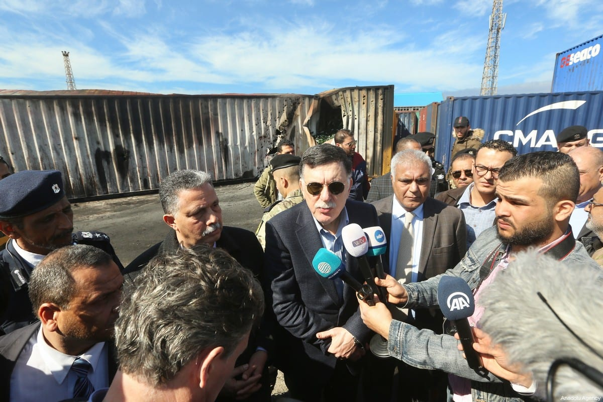 Fayez al-Sarraj, Chairman of the Presidential Council of Libya's Government of National Accord (GNA) speaks to press members as he inspects the site after warlord Khalifa Haftar's forces launched rocket attack over Port of Tripoli, Libya on 19 February 2020. [Hazem Turkia - Anadolu Agency]