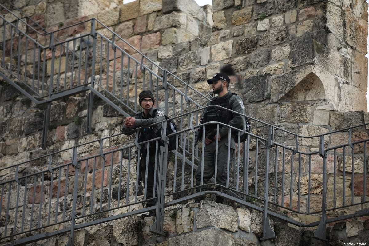 Israeli forces in Jerusalem on 22 February 2020. [Mostafa Alkharouf - Anadolu Agency]